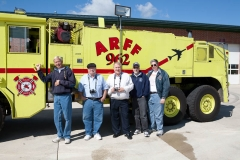 George and other fire apparatus enthusiasts documenting apparatus Sugar Grove.