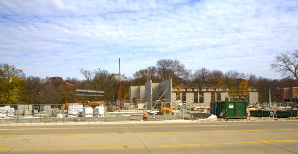 Wheeling headquarters station under construction on Milwaukee Avenue - 11-1-09