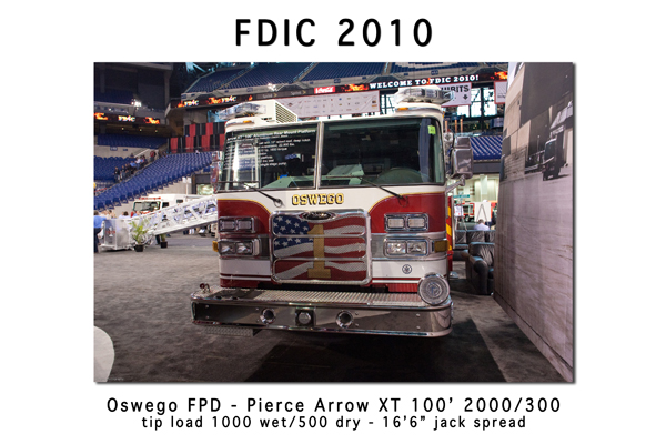 Oswego FPD Pierce Arrow XT 100' aluminum tower ladder