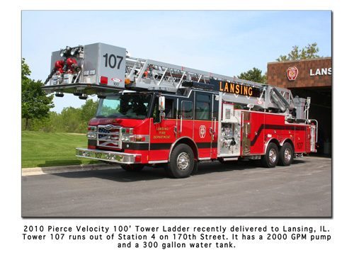 Lansing FD Pierce Velocity tower ladder