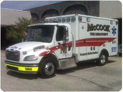 McCook FD Wheeled Coach ambulance
