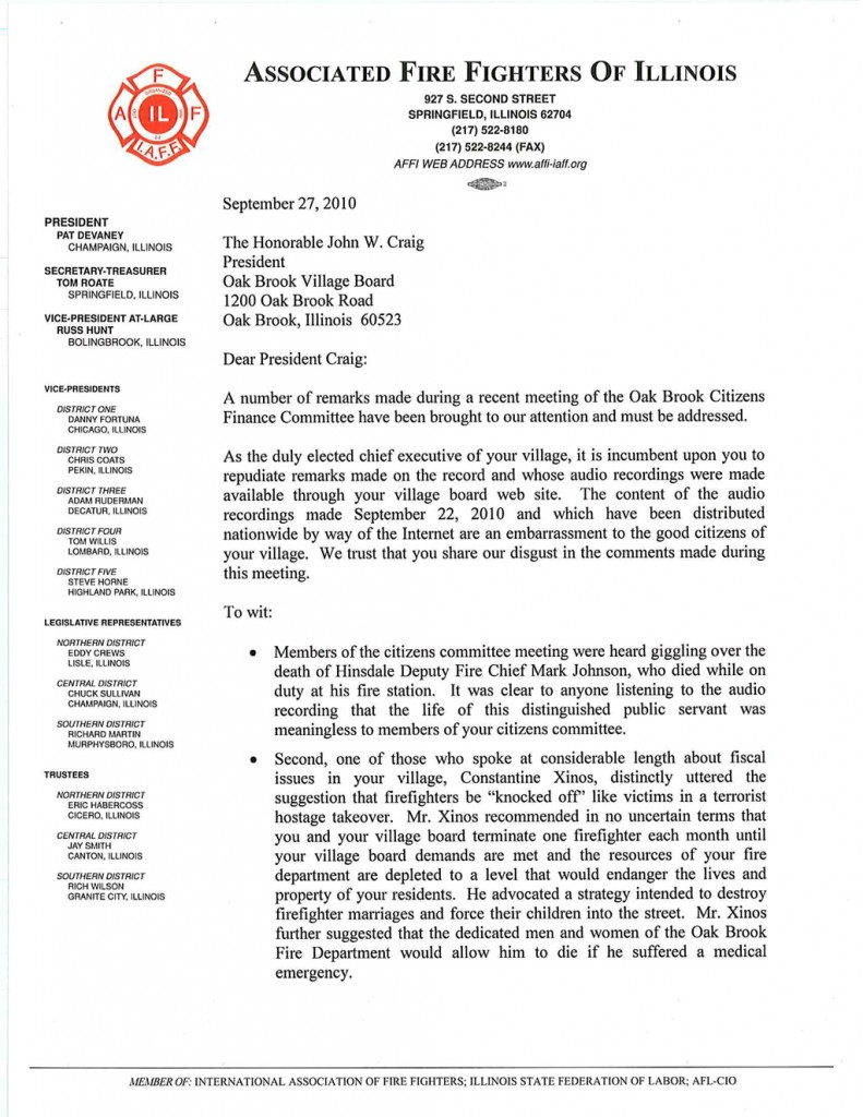 Oak Brook Fire Department Union letter to mayor