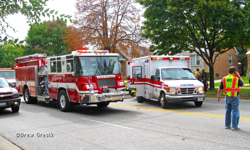 North Riverside IL Fire Department on-Scene at MVA