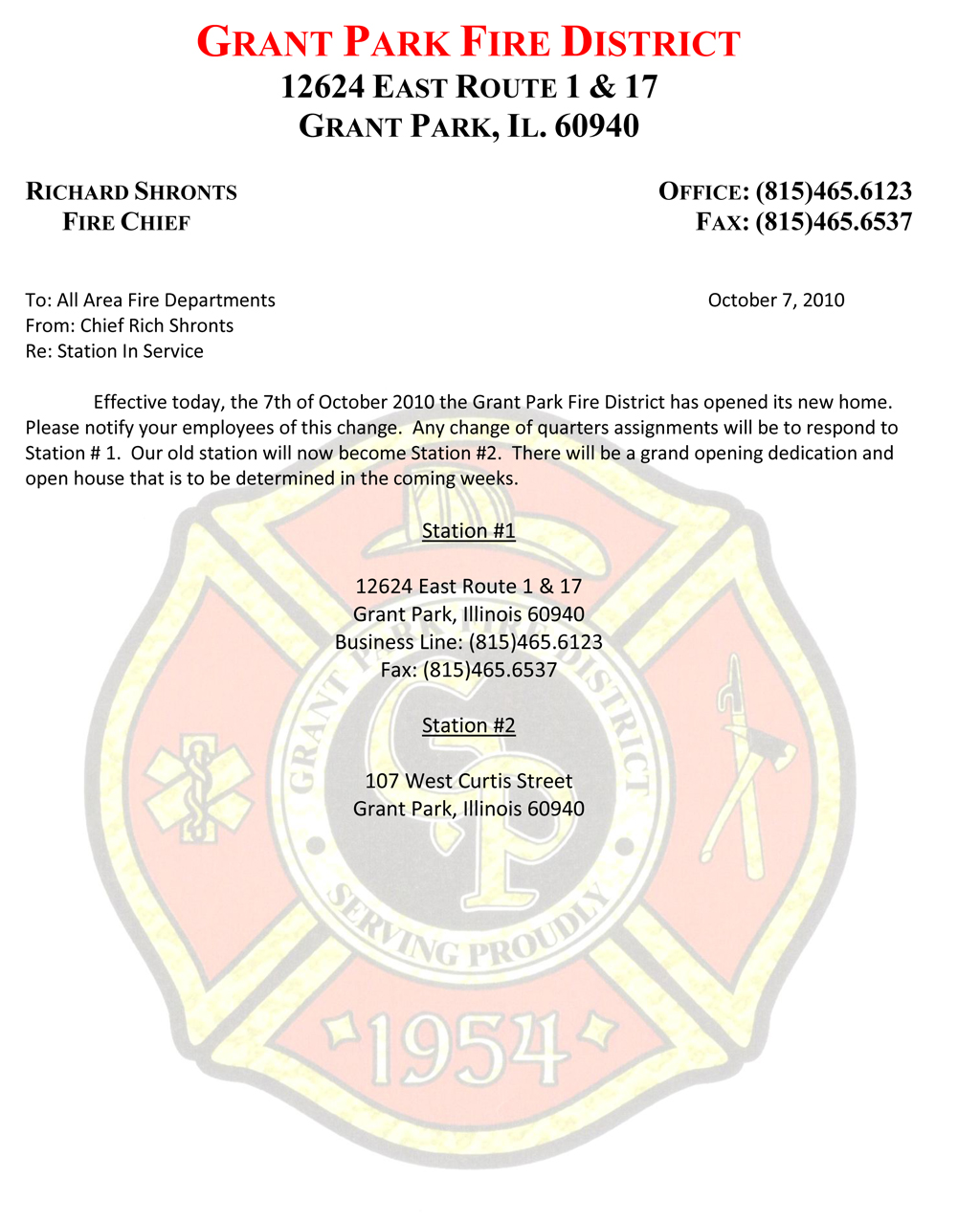 Grant Park Fire District Station Opening