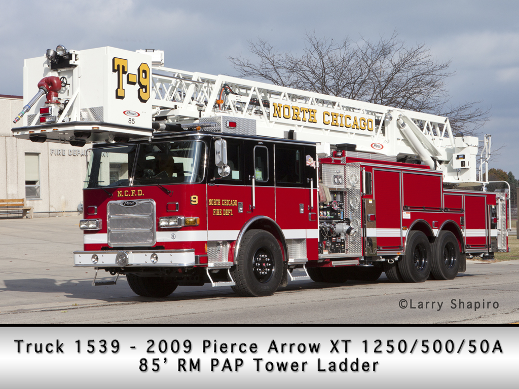 North Chicago Fire Department Pierce Arrow XT 85' tower ladder