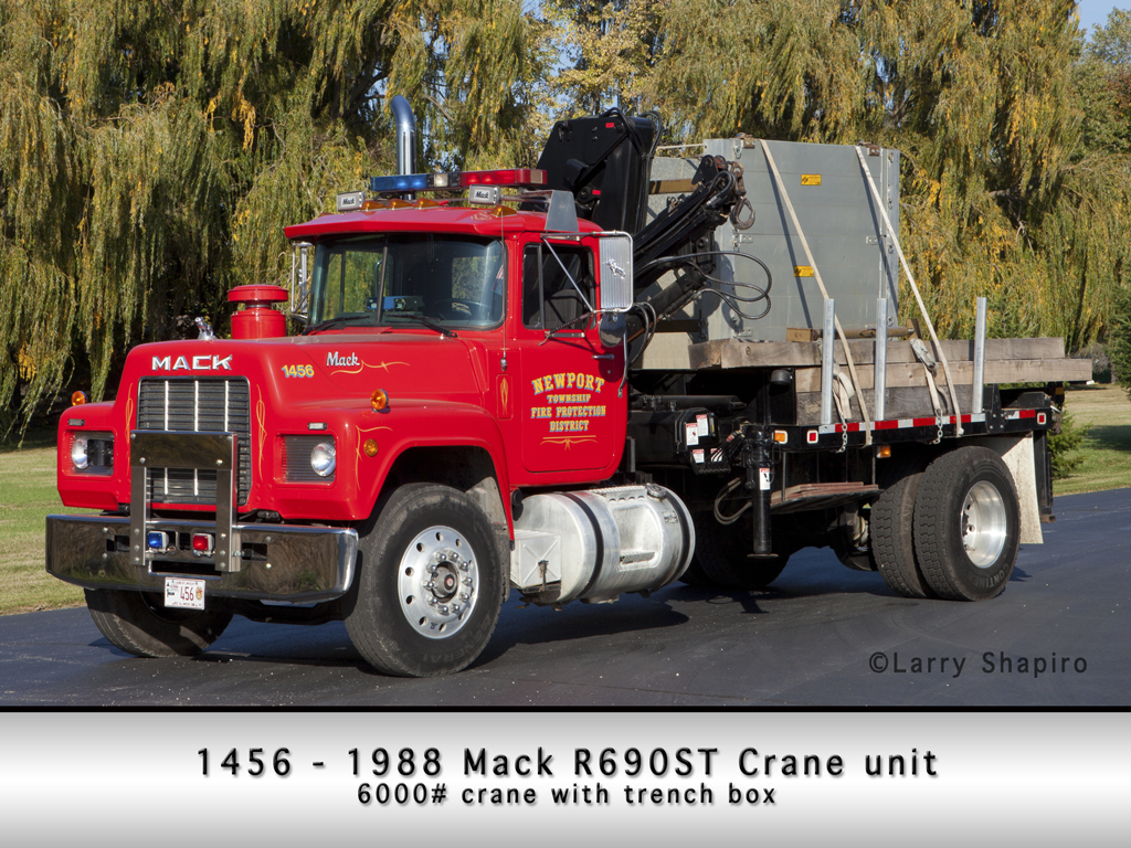 Newport Township Fire Protection District crane truck