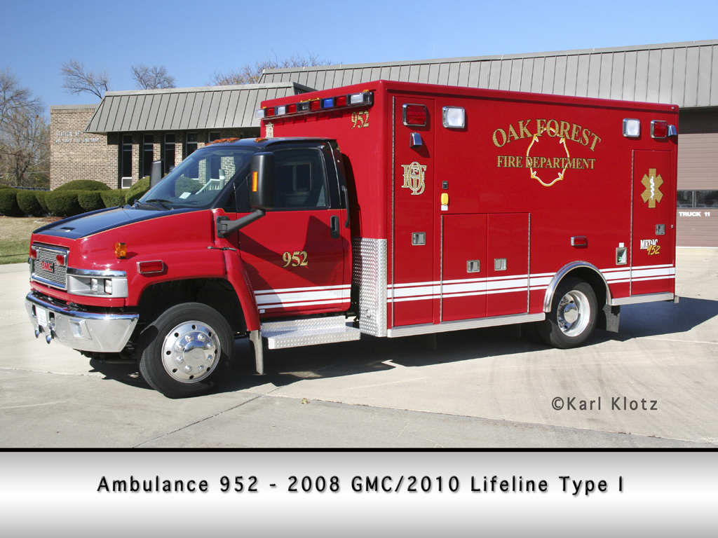 Oak Forest Fire Department GMC Lifeline ambulance