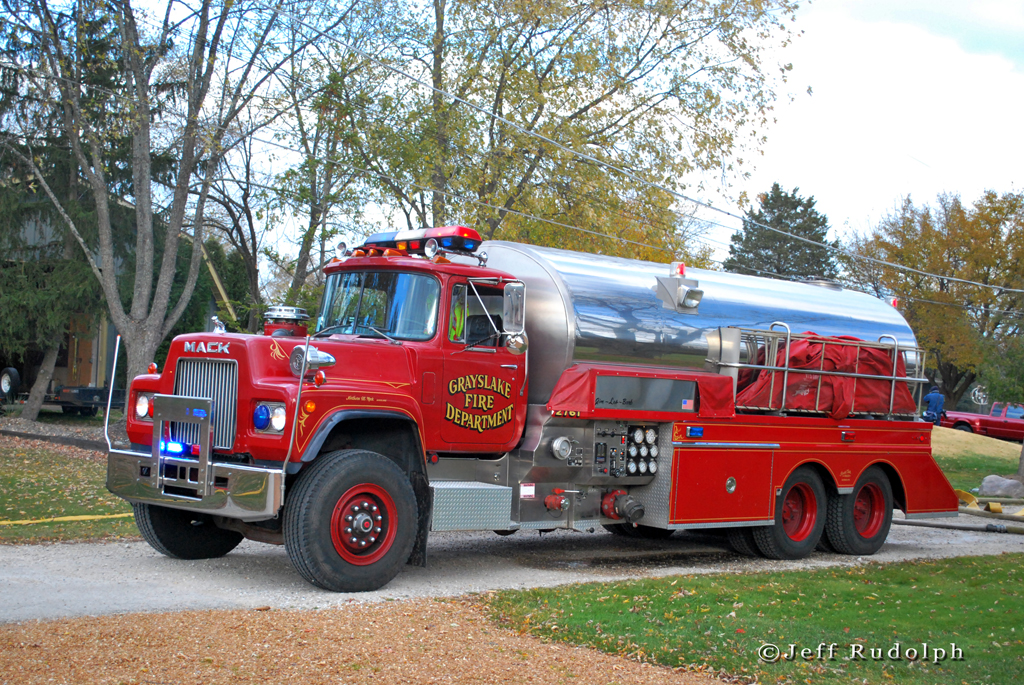 Grayslake Fire Department Mack tender at a 2nd alarm fire in Waukegan 11-5-10