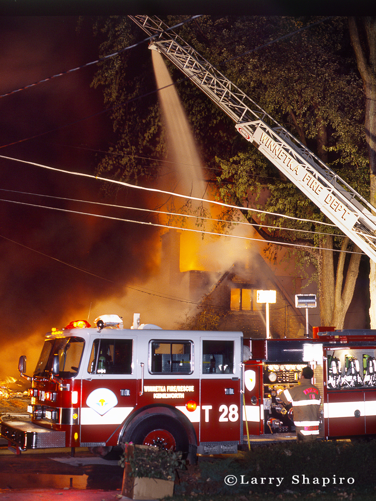 Winnetka Fire Department nighttime house fire
