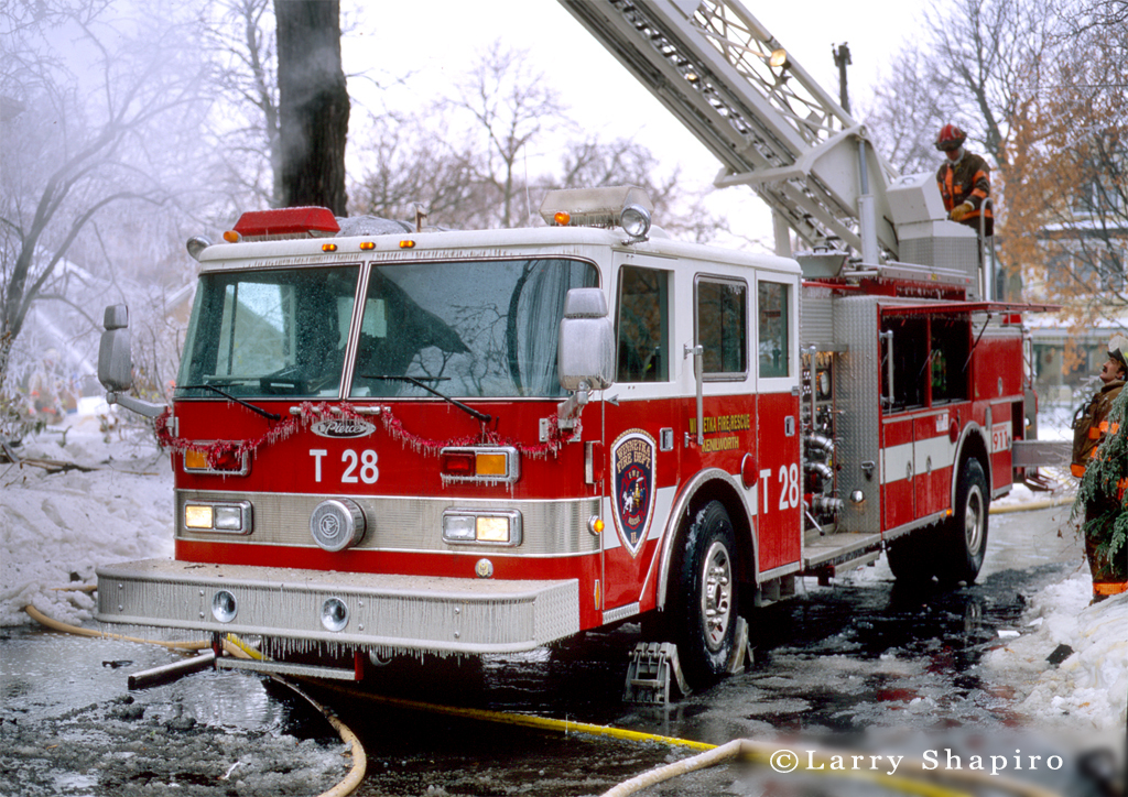 Winnetka Fire Department truck 28 winter fire