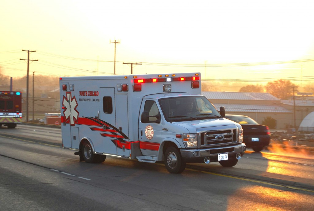 Gurnee Fire Department ambulance at MVA
