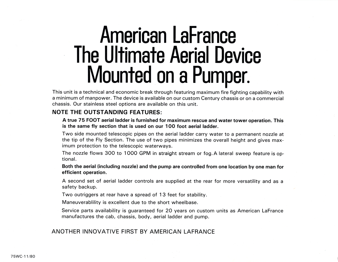 American LaFrance Water Chief quint brochure