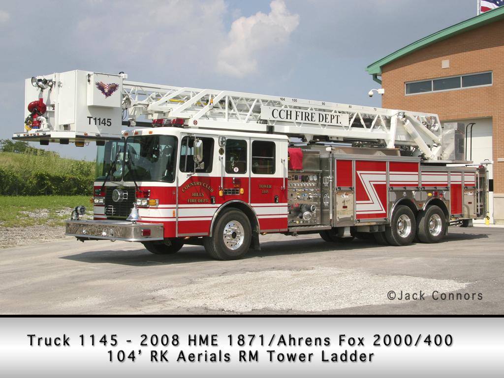 Country Club Hills Fire Department HME Ahrens Fox RK tower ladder