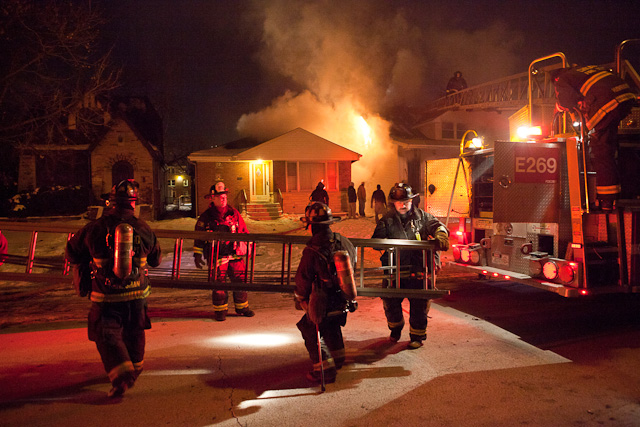 Chicago Fire Department house fire on Onarga