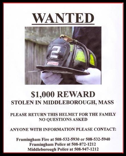 firefighter helmet stolen