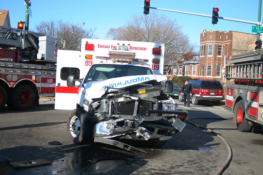 Chicago Fire Department Ambulance 89 traffic crash 74th & Morgan