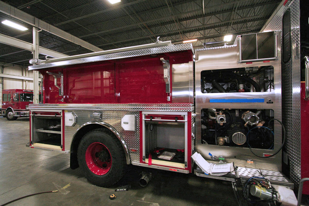 Crimson fire engine in production for Chicago