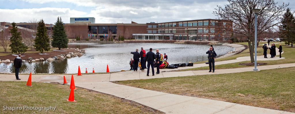Harper College submerged car Palatine Fire Department water rescue