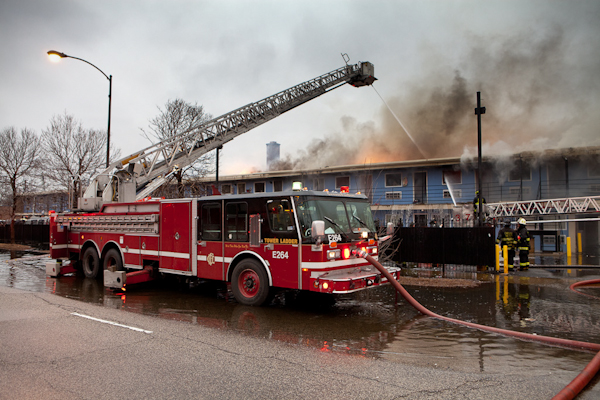 Chicago Fire Department 3-11 alarm fire Lake Motel March 5, 2011