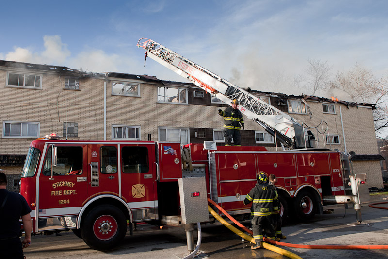 Berwyn Fire Department 2-11 alarm at 28th & Ridgeland 4-23-11