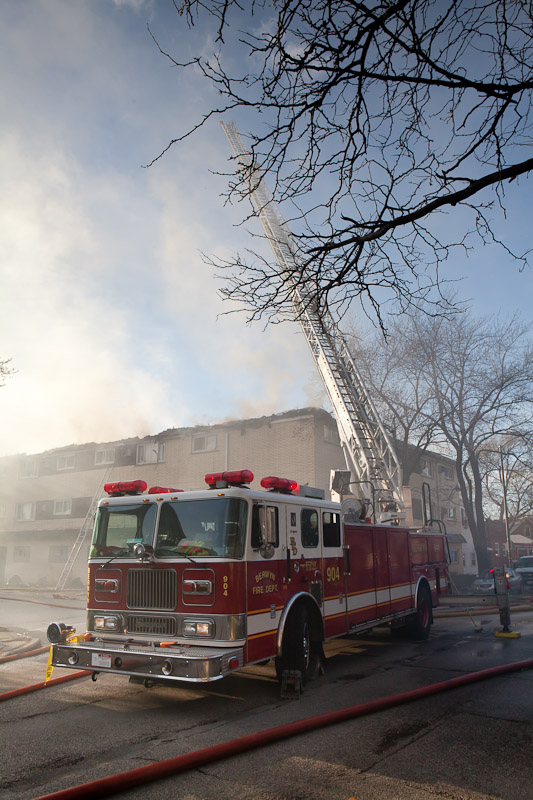 Berwyn Fire Department 2-11 alarm at 28th & Ridgeland 4-23-11