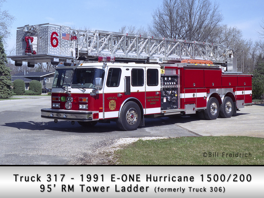 Oakbrook Terrace Fire District Truck 317 E-ONE tower ladder