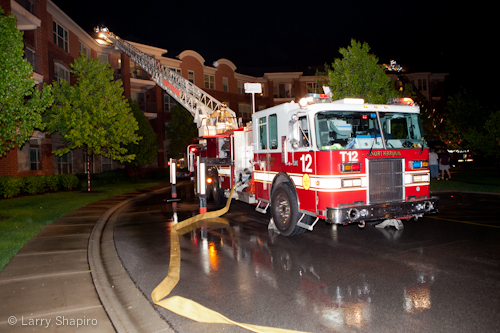 Glenview IL apartment building fire lighting strike Summit Drive 5-22-11