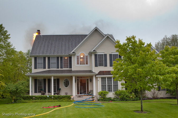 Long Grove Fire Department house fire lightning strike Muirwood Ct 5-29-11