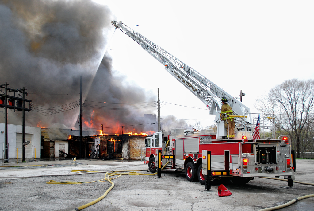Waukegan Fire Department commercial building fire Salvation Army store 5-4-11 Genesse street