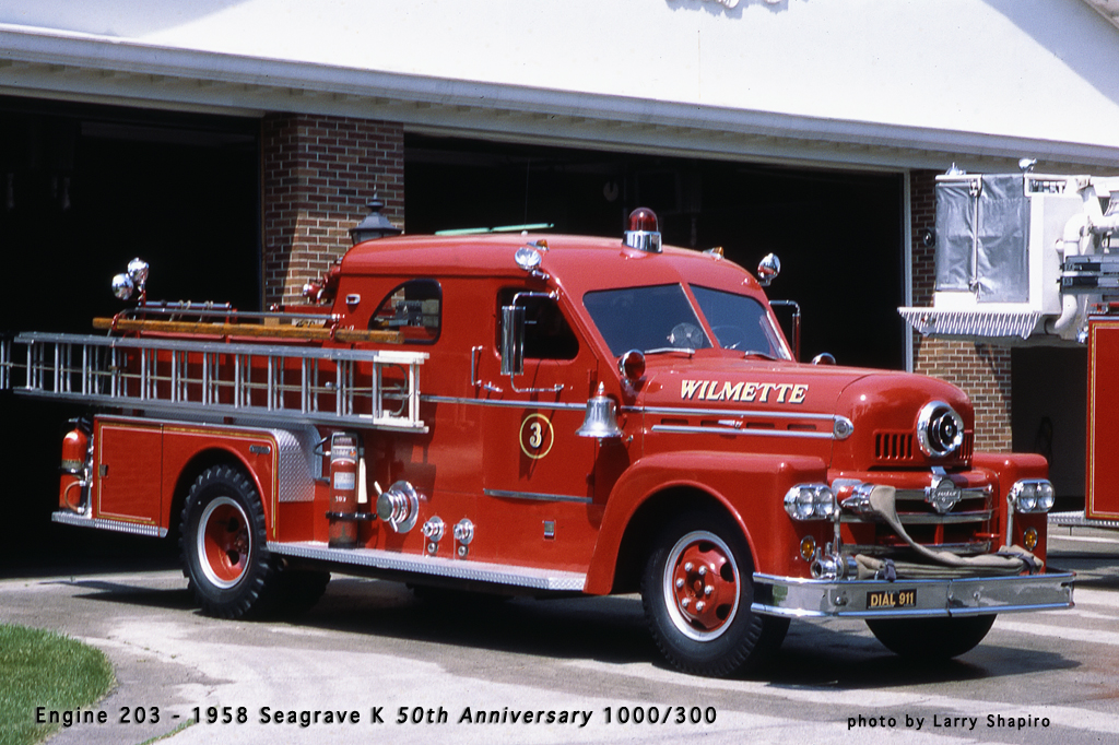Wilmette Fire Department 1958 Geagrave engine 50th Anniversart