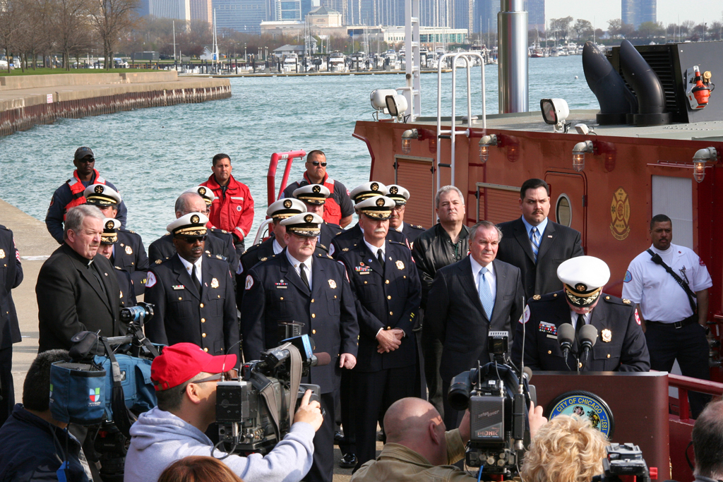 Chicago Fire Department dedication ceremony fire boat Engine 2 Christopher Wheatley