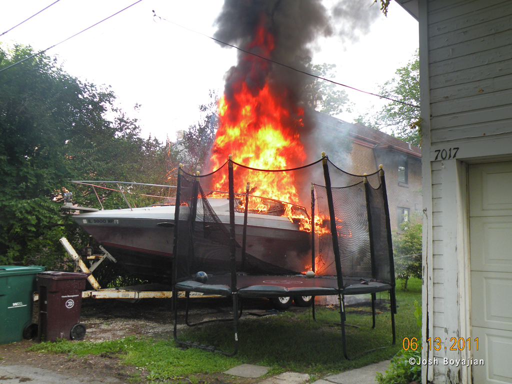 Berwyn Fire Department boat on fire 6-13-11
