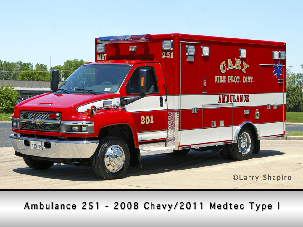 Cary Fire Protection District Chevy Medtec Type I ambulance