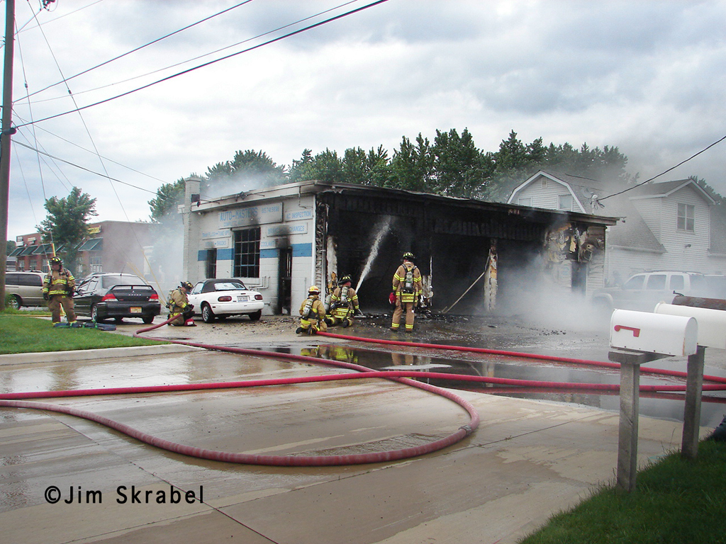 Troy Fire Department auto body shop fire on Cottage 6-27-11