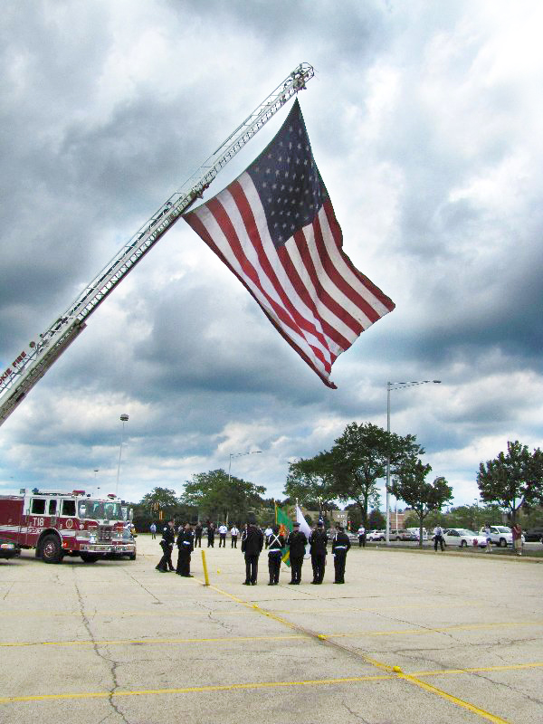 Skokie Fire Department flies the WTC Patriot Flag