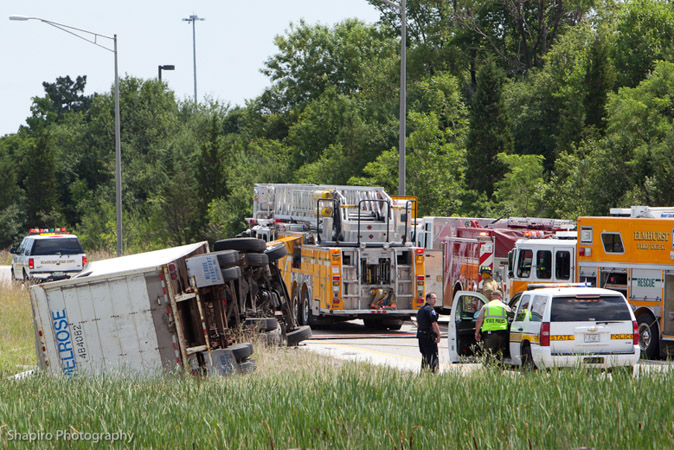 Elmhurst Fire Department MVA semi truck rollover med-i-vac RT 83 7-6-11