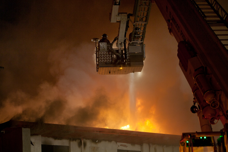 Franklin Park, 3-11, night, vacant, fire, elevated master stream, E-ONE, Bronto, Elmwood Park, Melrose Park, Schiller Park, Leyden, Rosemont, smoke, Chicago Squad 7