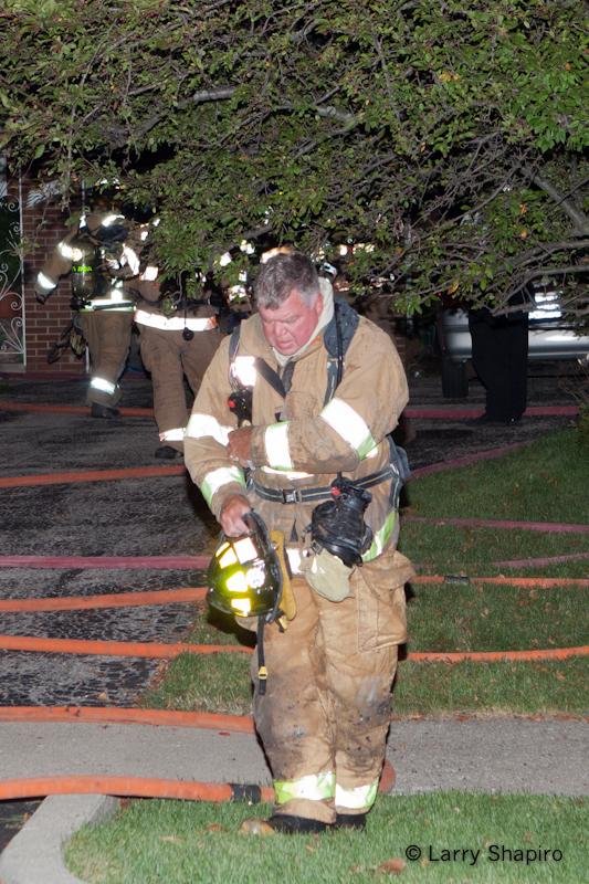 Northfield house fire on Wagner Road 8-28-11 Glencoe firefighter