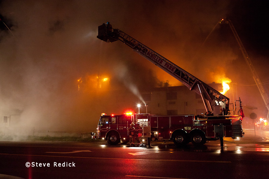 Franklin Park 3-11 alarm fire on Mannheim Road 8-11-11
