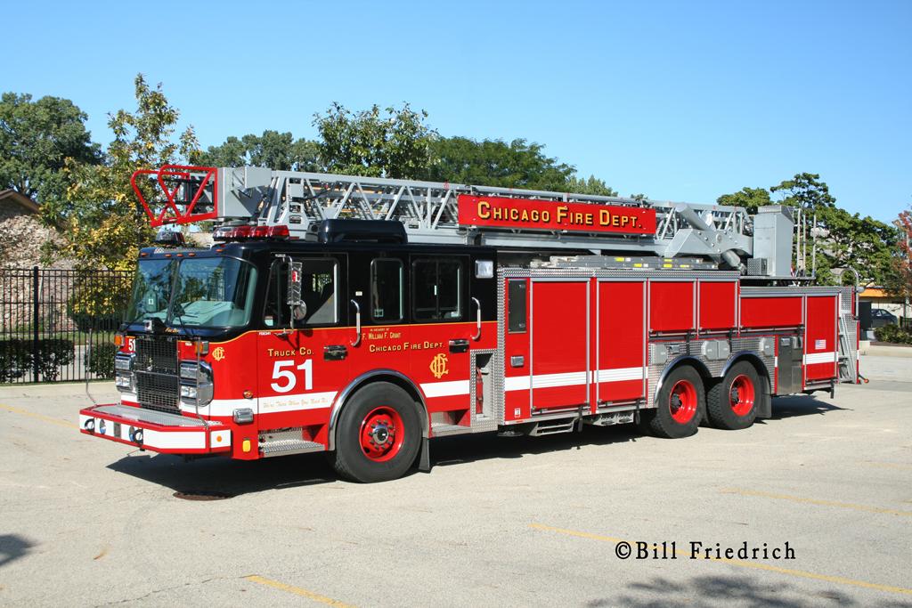 Chicago Fire Department Truck 51 Crimson aerial