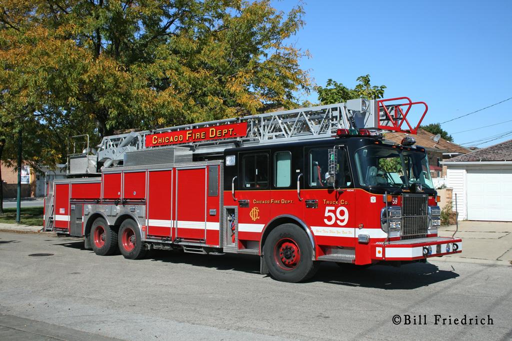 Chicago Fire Department Truck 59 Crimson aerial