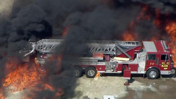 Fire truck burned at chemical fire
