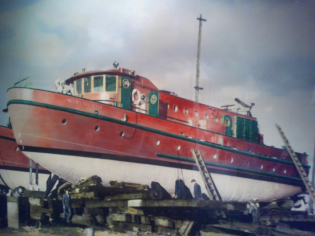 The Chicago Fire Boat Victor Schlaeger in dry dock - Door County Maritime Museum
