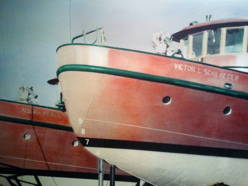 The Chicago Fire Boats Victor Schlaeger and Joseph Medill in dry dock - Door County Maritime Museum