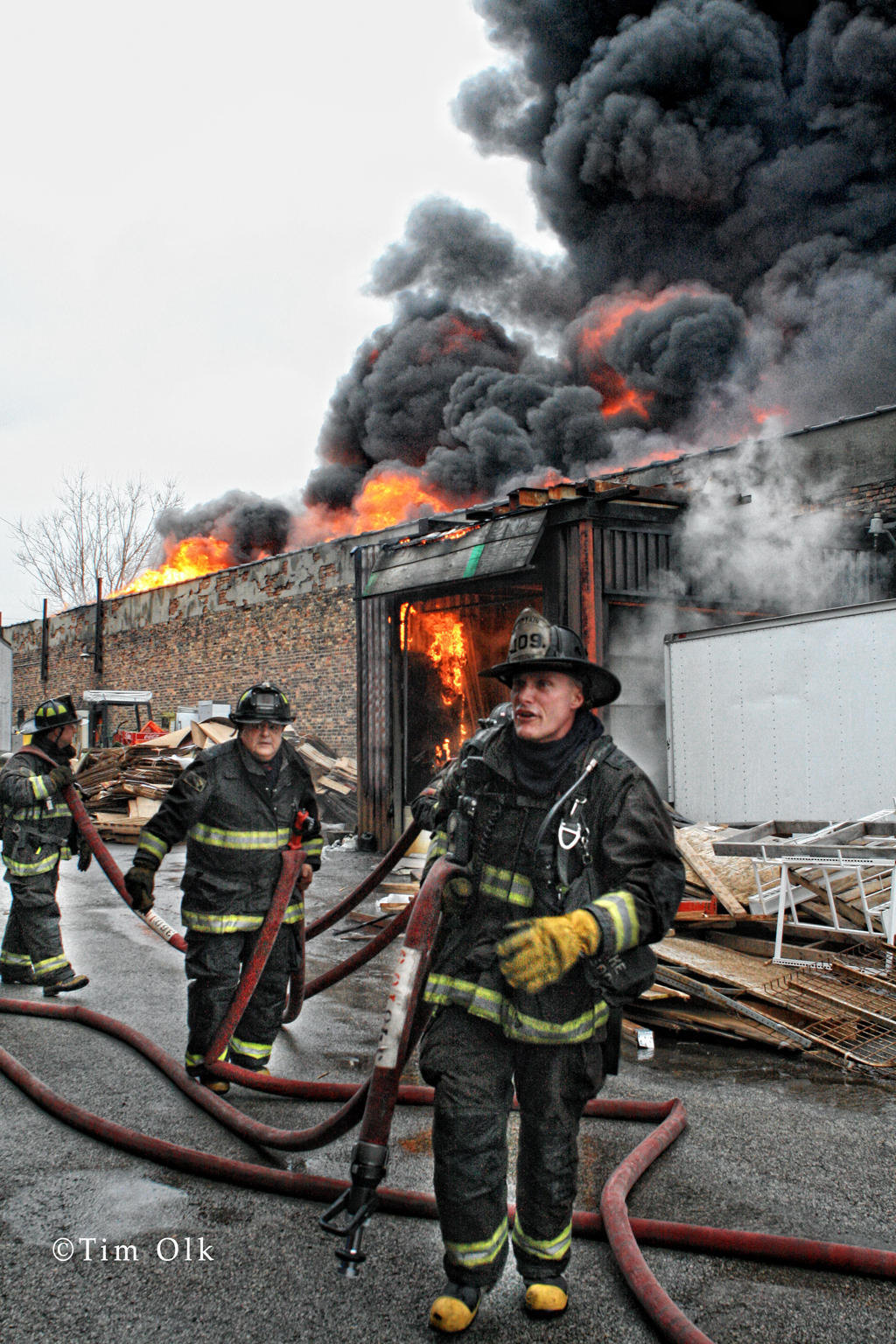 Chicago 3-11 Alarm warehouse fire on 38th Street 12-21-11
