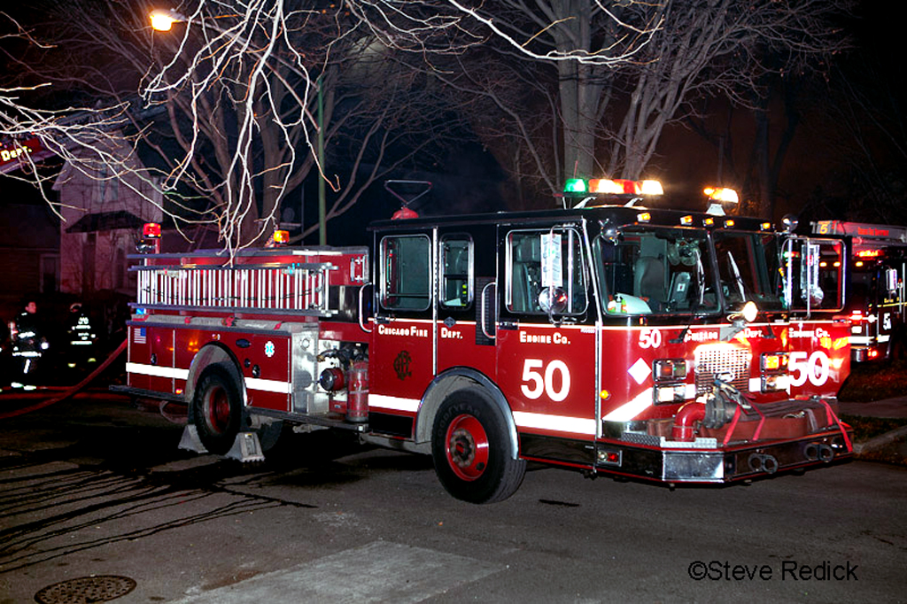 Chicago Still Alarm fire 57th and Normal Chicago Engine 50