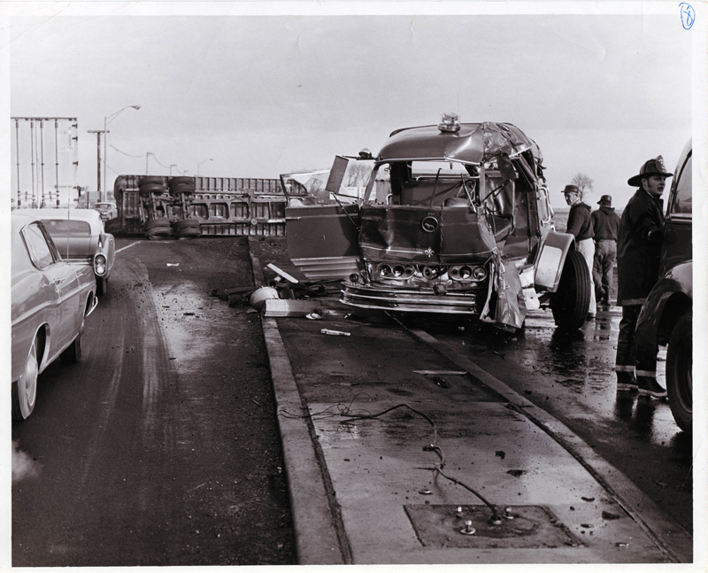 Naperville Fire Department fatal accident scene December 7, 1970