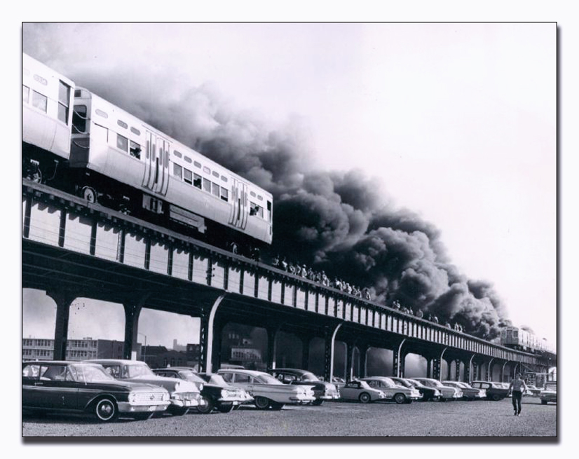 Vintage Chicago Fire Department fire photo - 1962 El platform fire