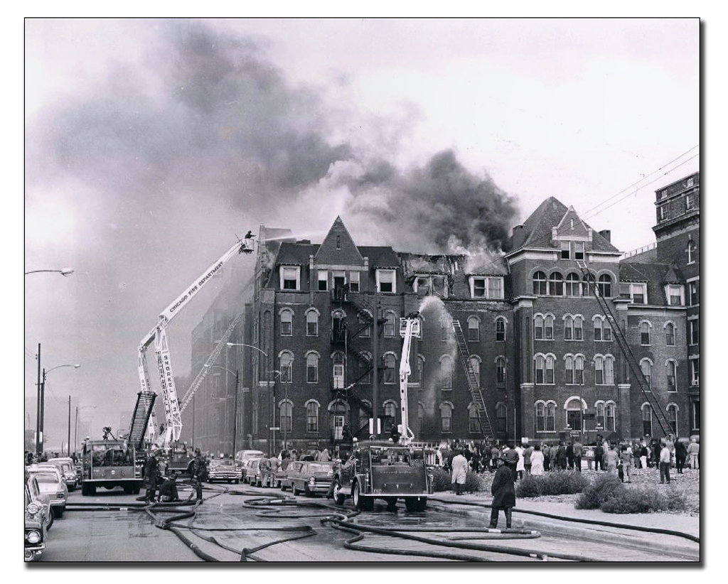 Vintage Chicago Fire Department fire scene photo