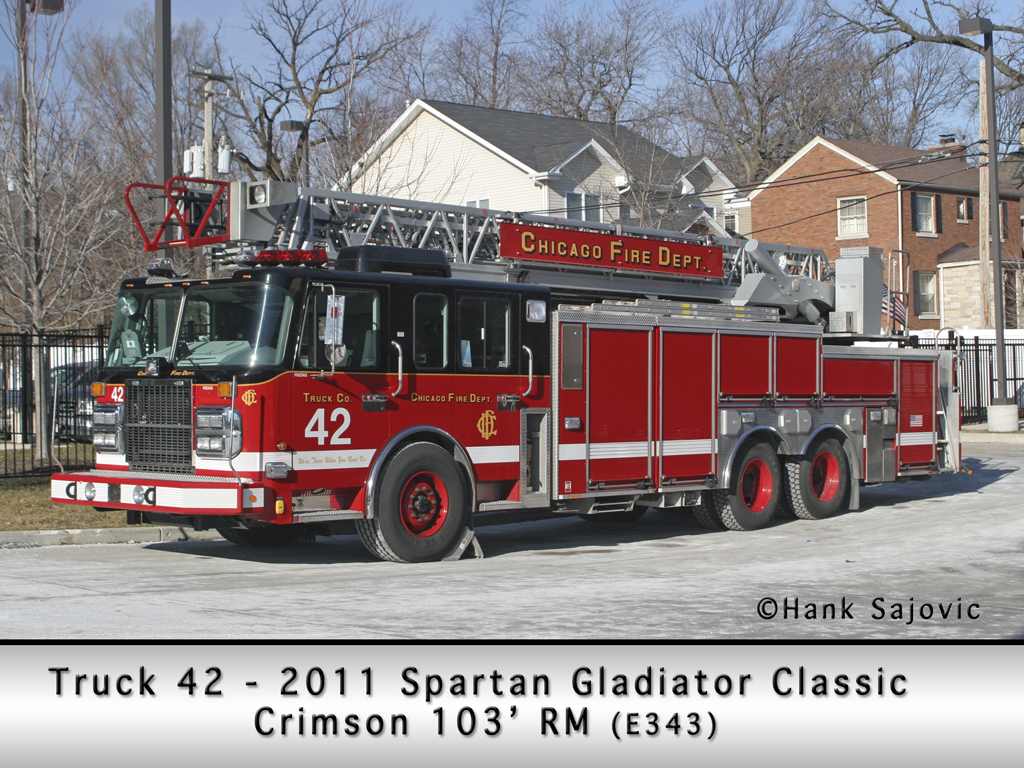Chicago Fire Department Truck 42 Spartan Gladiator Crimson aerial